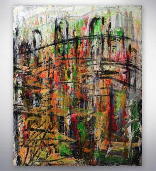 Bild, Gemälde, Silber, Gold, Rot, Grün, Schwarz Weiß, Bunt,  Original, Unikat, Stadt, City, Skyline, gespachtelt.