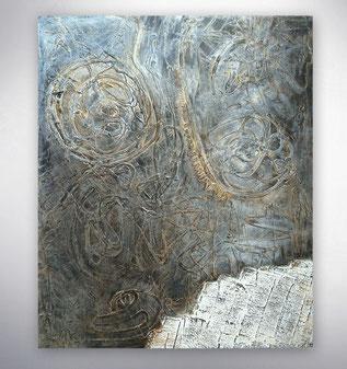 Bild, Gemälde, Silber, Gold, Braun,  Schwarz Weiß, Bunt, XXL, Original, Unikat, Strukturen Gold,