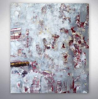 Bild, XXL, großformatig, Weiß, Grau, Rot, Collage, Bunt, gespachtelt, modern, gespachtelt,