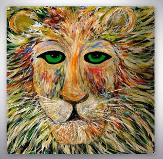 Bild, Gemälde, Gelb, Grün, Rot, Weiß, Bunt, Original, Unikat, Löwe, Figuren, figurativ, Tiere,