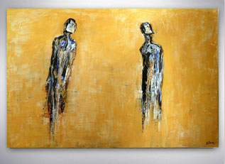 Bild, Gemälde, Silber, Gold, Blau, Weiß, Bunt, Original, Unikat, figurativ, Portrait, Gesichter, Menschen, Figuren,