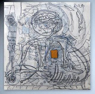 Bild, Gemälde, Silber, Gold, Rot, Blau, figurativ, Portrait, Gesichter, Menschen, Weiß, Bunt, Original, Unikat,