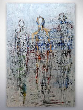 Bild, Gemälde, Silber, Gold, Rot, Blau, Weiß, Bunt, Original, Unikat, Menschen, figurativ, Figuren,