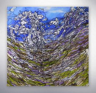 Bild, Gemälde, Silber, Gold, Blau, Weiß, Bunt, XXL, Original, Unikat, grafisch, geometrisch,