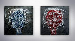 Bild, Gemälde, Silber, Gold, Rot, Schwarz Weiß, Bunt,Original, Unikat, gespachtelt,
