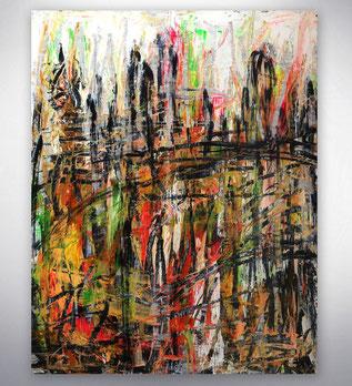 Bild, Gemälde, Silber, Gold, Rot, Grün, Weiß, Bunt, Original, Unikat, City, Stadt, Skyline, gespachtelt,