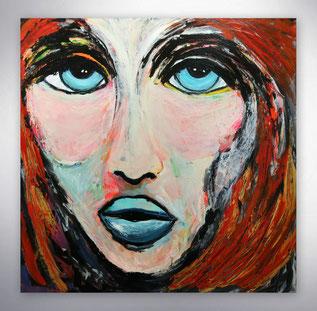 Bild, Gemälde, Silber, Gold, Rot, Weiß, Bunt, Original, Unikat, Portrait, Gesichter, Menschen,