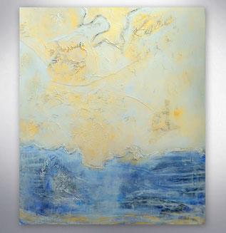 Bild, Gemälde, Silber, Blau, gespachtelt, Strukturen, Weiß, Bunt, XXL, Original, Unikat,
