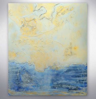 Bild, Gemälde, Silber, Blau, gespachtelt, Strukturen, Weiß, Bunt, Original, Unikat,
