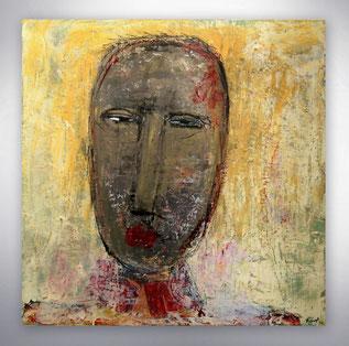 Bild, Gemälde, Silber, Gold, Rot, Weiß, Bunt, Original, Unikat, Portrait, Gesichter, figurativ,