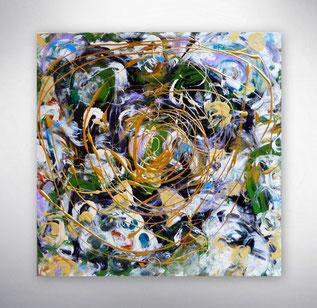 Bild, Gemälde, Silber, Gold, Rot, Grün, Weiß, Bunt, XXL, Original, Unikat,