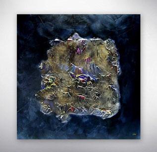 Bild, Gemälde, Silber, Gold, Blau, Weiß, Bunt, Original, Unikat, Stukturen Silber,