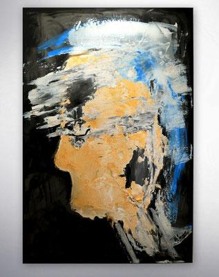 Leinwandbilder, Gemälde, Silber, Gold, Rot, Weiß, Bunt, Original, Unikat, Portrait, Gesichter, figurativ,