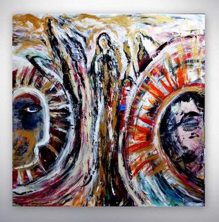 Bild, Gemälde, Silber, Gold, Rot, Weiß, Bunt, XXL, Original, Unikat, figurativ,