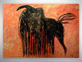 Bild, Gemälde, Silber, Gold, Rot, Weiß, Bunt, XXL, Original, Unikat, figurativ, Höhlenmalerei, Strukturen,