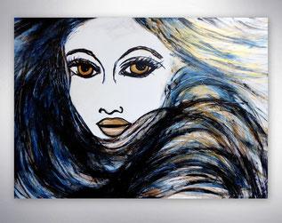 Bild, Gemälde, Silber, Gold, Blau, Weiß, Bunt, Original, Unikat, Gesichter, Portrait, Menschen, figurativ,