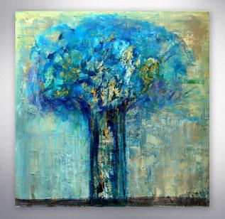 Bild, Gemälde, Silber, Gold, Blau, Weiß, Bunt, Original, Unikat, gespachtelt, Strukturen,