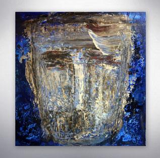 Bild, Gemälde, Blau, Weiß, Bunt, Original, Unikat, Strukturen,
