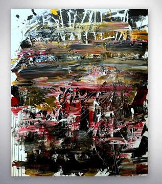 Bild, Gemälde, Silber, Gold, Rot, Weiß, Bunt, XXL, Original, Unikat,