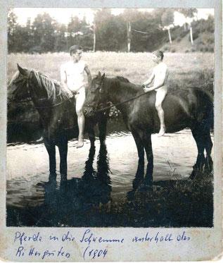 Erfrischung für Tier und Mensch, am Rittergut Kleinwolmsdorf 1904
