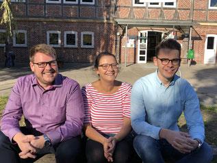 Der geschäftsführende Vorstand (v.l.n.r): Achim Biesenbach (36, Vorsitzender), Inga Lietzmann (41, Stellvertreterin) und Niels Kohlhaase (19, Stellvertreter und Schatzmeister)