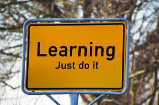 Gelbes Verkehrsschild mit der Aufschrift: Learning - Just do ist