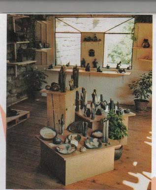 Vases et Sculptures Céramiques dans la salle d'expo de notre lieu de Production  - Il y a 15 ans -