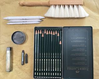 Cours de graphisme Aix en provence - crayons - graphites - aquarelle - brosse poil de chevre