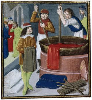 La cuve des teinturiers ou baffa, donne son nom au quartier de la Baffe à Castelnaudary. Enluminure.