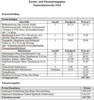 Kosten- und Finanzierungsplan