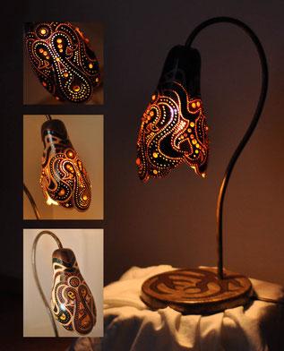 lampka z tykwy - pierwsza, którą wykonałam