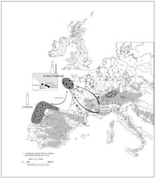 Distribución de hachas con perforación proximal (Petrequin et al.,2007).