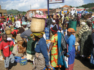 An African market. A picture done out of the bus.