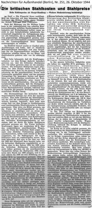 Interview mit Sir William Larke von 1944: Die britischen Stahlkosten und Stahlpreise: Hohe Kohlenpreise als Haupt-Handicap - Weitere Modernisierung beabsichtigt. Nachrichten für Außenhandel (Berlin), Nr. 251, 26. Okt. 1944