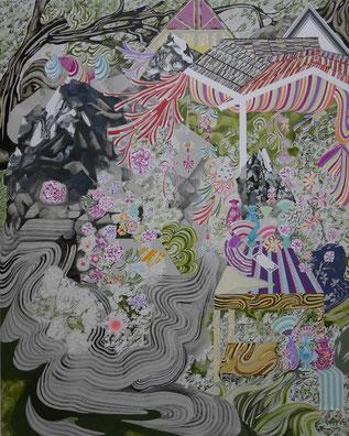 蜃気楼をみわたす 2015 100.0×80.3㎝ キャンバスに油彩、ボールペン  (C)Rina Mizuno Courtesy of taimatz photo by Rina Mizuno