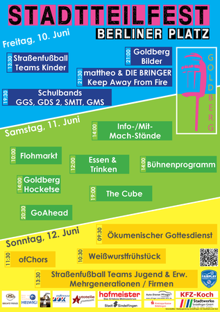 Plakat für das Stadtteilfest 2106 auf dem Berliner Platz in Sindelfingen