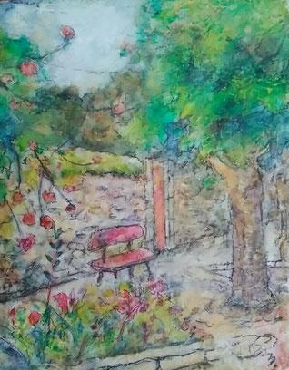 「花籠のベンチ」 油彩 F0