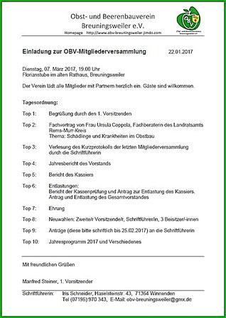 OBV Breuningsweiler - Einladung Mitgliederversammlung 2017