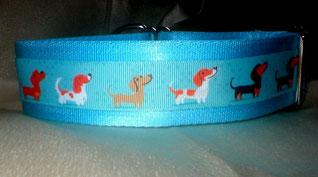 Zugstopp, Halsband, 4 cm, Gurtband eisblau, Borte mit Hunden
