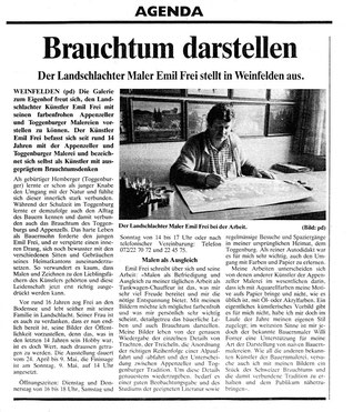 """Thurgauer Zeitung, 24.4.1993, """"Brauchtum darstellen"""""""