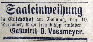 7.12.1899 SZ: Schon im Dezember kann der neue Saal wieder eingeweiht werden