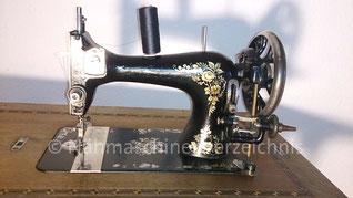 Haid & Neu Minerva, Schwingschiffchen-Geradstichnähmaschine, Flachbett, Fußantrieb, Hersteller: Haid & Neu AG, Karlsruhe 1927 (Bilder: D. Dröschler)