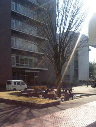 [梨大美教]の拠点、甲府西キャンパスL号館の前