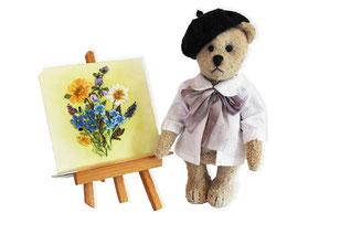 Teddybär, Maler mit Staffellei, handarbeit