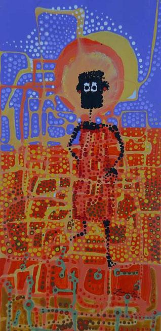 NALA im Maisfeld, Acryl auf Papier, (22cm x 45cm) gemalt von Zandile Masuku, Bulawayo / Zimbabwe