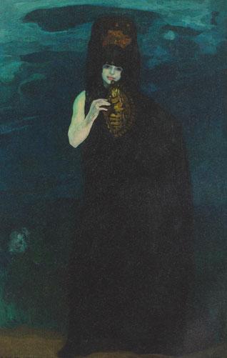 Anglada Camarasa.La madrileña,1913.Óleo 184cmx120cm. También expuesta en América como la chula negra,de monumental esbelta presencia ataviada con mantón de Manila o abanico.El contraste oscuro con el brazo pálido desnudo indica el gusto por la bidimension