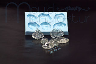 MouldManufactury Isomalt sugar silicon inlays hearts circles ice cristals noodles squares siliconmould