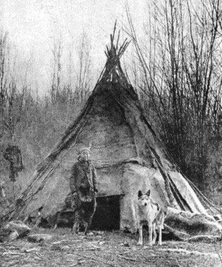 Indigener, sibirischer Ureinwohner mit laikaähnlichem Hund des Urtyps. (Quelle: http://retrieverman.net/tag/dog-domestication/)