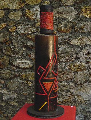Guerrier I (1998) - Acier gravé, pigments et cristaux, vernis - 74cm