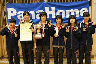 中学生女子優勝の相模原市立大沢中学校